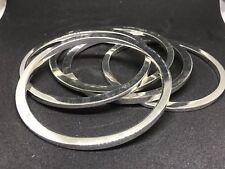 Set Of 5 Silvertone Bangle Bracelets Assymetrical Fleek Large Size
