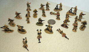 Lot of 26 Very Small Micro Machine Plastic Figures of Soldiers in Khaki Lot C