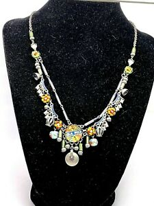 Designer Signed AB AYALA BAR Colorful Beaded Charms Metal Glass Dangle Necklace