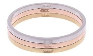 COACH mixed metals  rose gold silver plated 3 Bangle Bracelet  Set NWT