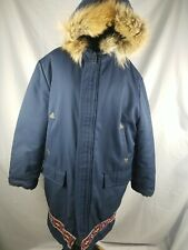 Vtg Jacket Parka Unisex Navy Blue Fur Embroidery Inuit Size Large Made In Canada