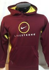 Nike Livestrong Yellow Maroon Long Sleeve Hoodie Thermafit Sweatshirt Small