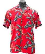 "Paradise Found™ Classic Magnum PI Red ""Jungle Bird"" Print Rayon Shirt/NWT"