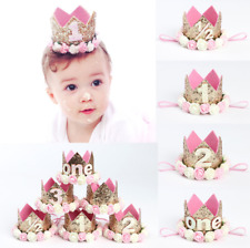 Decor Hair Accessory Baby Girl Flower Princess Crown First Birthday Party Hat
