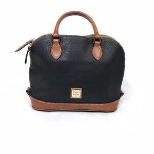 Dooney & Bourke Pebble Grain Zip Zip Satchel Purse Handbag Bag Leather Contrast