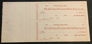 2 UNCUT 1860's HOLLADAY OVERLAND MAIL & EXPRESS CHECKS MONTANA TERRITORY > NO RS