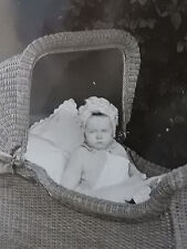 c 1910 RPPC Postcard Beautiful Baby with Hat Wicker Carriage Stroller Photograph