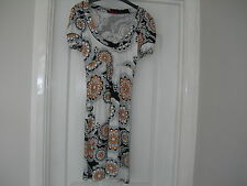 Miss Selfridge Ladies White Black & Orange Short Sleeve Dress Size 8