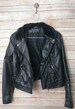 H&M Ladies Women's Size 8 Faux Leather Faux Fur Jacket Black