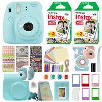 Fujifilm Instax Mini 9 Instant Film Camera Ice Blue + 40 Film Deluxe Bundle