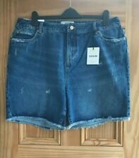 New Look Curve New Blue Denim Boyfriend Distressed Shorts Plus Size 24 26