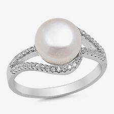 USA Seller One Pearl Ring Sterling Silver 925 Best Deal CZ Jewelry Size 7