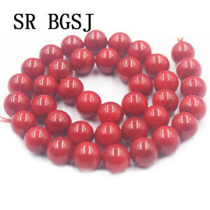 "Jewelry DIY Round Red Sea Bamboo Coral Gemstone Loose Beads Strand 15"" 12mm"