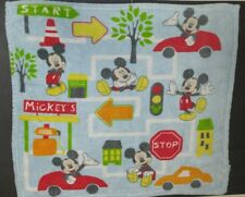 DISNEY BABY CUDLIE ACCESSORIES MICKEY MOUSE BLANKET CARS MAP STOP SIGN LT BLUE