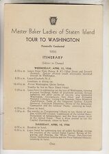 1936 PENNSYLVANIA RR ITINERARY CARD - MASTER BAKER LADIES OF STATEN ISLAND TOUR