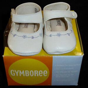 GYMBOREE WHITE LEATHER CRIB DRESS SHOES BLUE FLOWERS MARY JANE BABY GIRLS SIZE 1