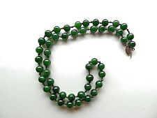 Vintage Dark Green Jade Jadeite Beaded Necklace 1/20 14K Gold Clasp