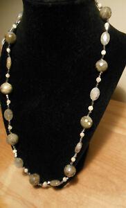 Vera NY design natural semi precious gem necklace grey labradorite & white opal