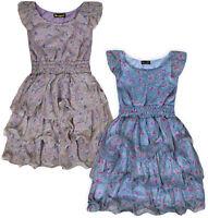 Ladies New Sleeveless Ruffle Floral Dress Womens Summer Holiday Boho UK S M 8 10