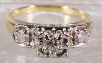 Vintage .45 CTW Diamond Engagement Ring 14 K Yellow Gold Size 6.25