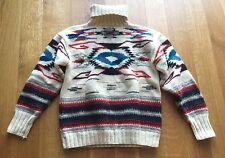 Ralph Lauren Turtleneck Navajo Aztec Ski Sweater Hand Knit Women's Sz M