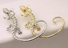 Gold or Silver Rhinestone Crystal Lizard Ear Cuff Boho Fashion Jewellery Party