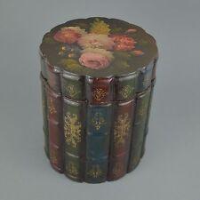 Boîte en bois en forme de livres Decor florale 19ème
