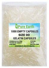 1000 Empty Gelatin Capsules Size 00 Kosher Gel Caps High Quality Free Ship
