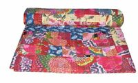 Indian Handmade Quilt-Vintage Kantha Bedspread Throw-Cotton Blanket Gudari Queen