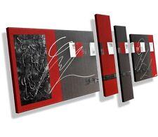 MK1 Art Bild Leinwand Abstrakt Gemälde Kunst Malerei modern Bilder grau rot XXL