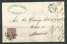 OSBURGH – SPAIN. FOLDED COVER. 1869. VALLADOLID TO MADRID. GUTIERREZ Y YURRITA