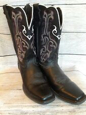 Justin Ladies Stampede Western Boot Black Deercow Cowhide Sz 6 7 Black/Purple