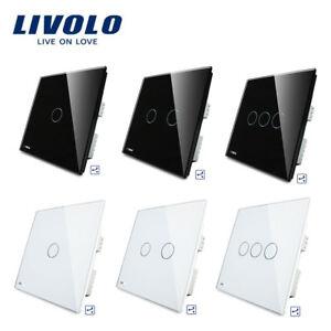 LIVOLO Wall Switch Glass Panel Touch Light UK Standard Switch 1/2/3/Gang 2way