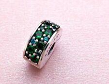 Pandora Sliver Shining Elegance Teal green Clip Charm  791817