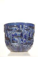 Cache pot vintage en céramique bleue design Brutaliste dlg Aldo Londi XXème
