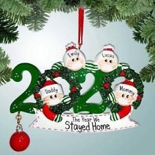 Christmas Tree Wooden Snowman Ornament 2020 Family Xmas Lockdown Decor DIY