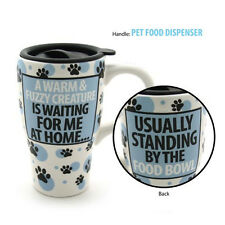 travel  mug warm and fuzzy dog  OUR NAME IS MUD  Blue white coffee ceramic