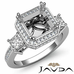 Princess Diamond Three 3 Stone Engagement Filigree Ring Platinum Semi Mount 1Ct