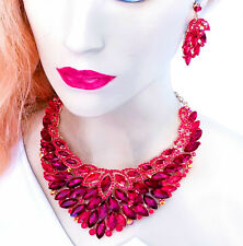 Choker Bib Necklace Earring Set Rhinestone Crystal Red