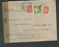 Portugal WWII examined by 8012 censor cover Lisbon to Erma Bohm 9 E 36th St NY