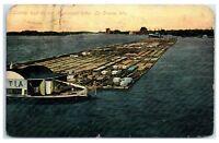 1910 Lumber Barge on Mississippi River, La Crosse, WI Postcard