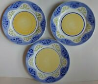 """3 Caleca Collinia Italy Dinner Plate Blue Edge Yellow Center Hand Paint 11-1/4"""""""