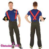 Mens Adult Fireman Fire Fighter Uniform Fancy Dress Costume Halloween Outfit