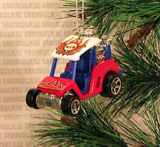 GOLF CART HOT ROD DRAGSTER RED WHITE & BLUE CHRISTMAS ORNAMENT XMAS