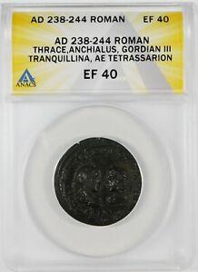 Ancient Roman Thrace, Anchialus, Gordian III Tranq. AE Tetrassarion ANACS EF40
