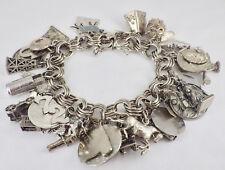 Vintage Sterling Silver 30 Travel & Personal Charm Bracelet 100.8 Grams