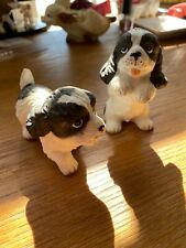2 vintage homco black white dog figurine porcelain. 1427 Cocker Springer Spaniel