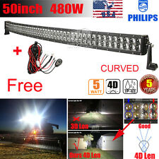50INCH 672W CURVED LED LIGHT BAR OFFROAD SPOT&FLOOD 4X4WD JEEP PICKUP+WIRING KIT
