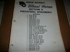 """wheel horse tractor SECTION V ATTACHMENTS SEE PIC FOR CONTENTS  """"52"""" PAGES"""
