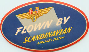 Flown SCANDINAVIAN AIRLINES System / SAS - Great Old Luggage Label, 1955